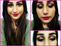 makeup of the day red lips and golden brown eye
